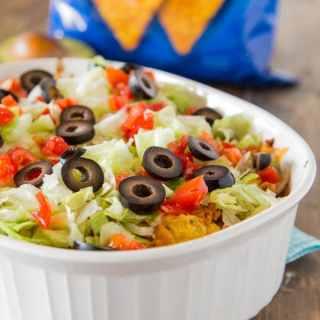 dorito taco casserole in a dish