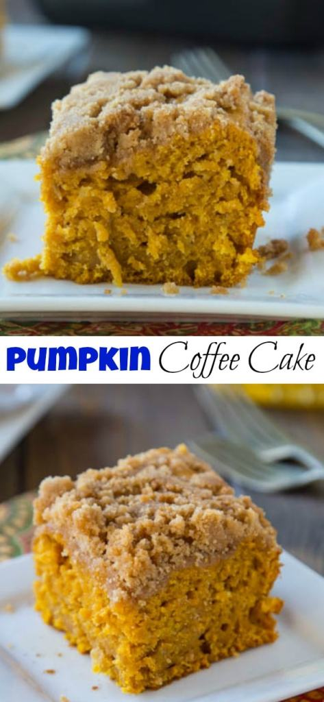 apple pumpkin coffee cake on a plate