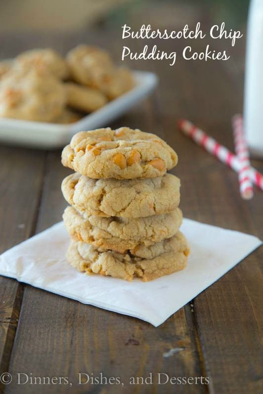 Butterscotch cookies stacked