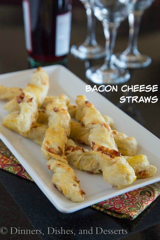 Bacon Cheese Straws - A great appetizer for any get together.  Fill puff pastry with bacon and cheese, twist, and bake until you get crispy, cheesy, bacony goodness!