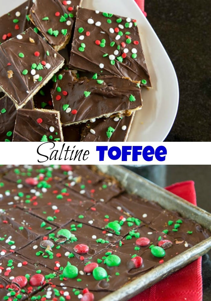 close up of chocolate saltine toffee on a plate