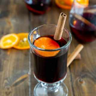 Spiced Mulled Wine - a winter favorite! Warm spices with a hint of orange make for a great holiday drink.