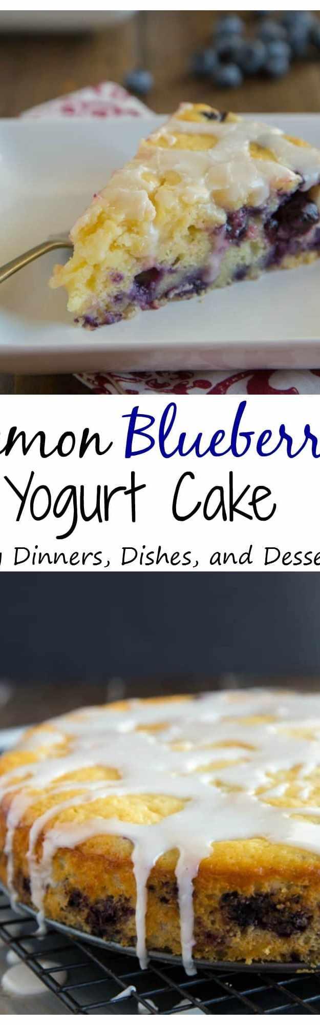 Lemon Blueberry Yogurt Cake - a super moist lemon yogurt cake studded with fresh blueberries and topped with a lemon glaze.