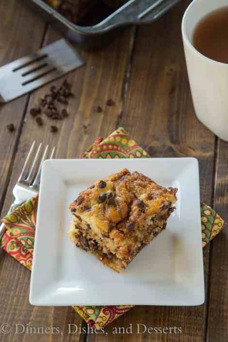 Chocolate Chip Coffee Cake - my all time favorite coffee cake recipes with chocolate chips added in!