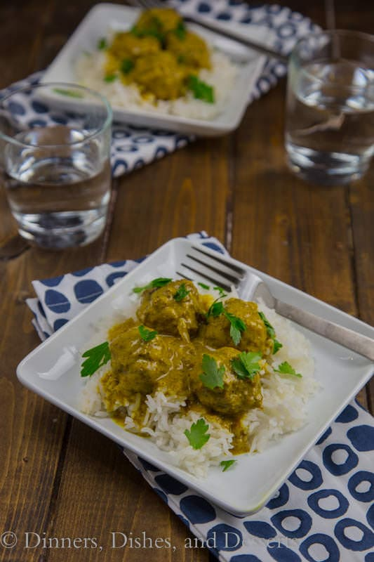 Coconut Curry Meatballs - Paleo friendly meatballs in a curry sauce