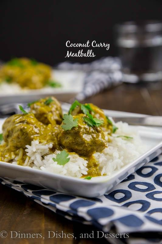 Coconut Curry Meatballs - Tender meatballs in a super flavorful coconut curry sauce. Great over rice or quinoa! And they happen to be Paleo!