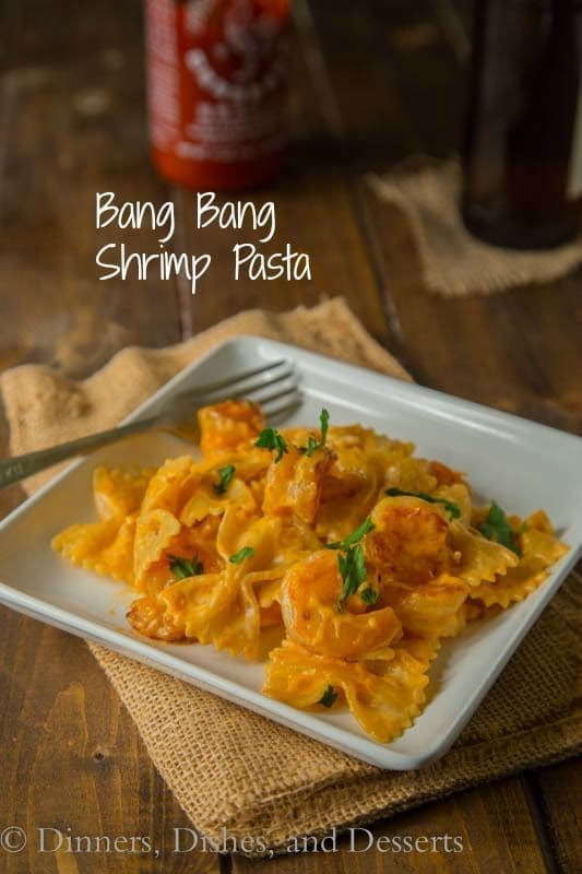 Bang Bang Shrimp Pasta - turn the famous bang bang shrimp appetizer into a main dish with this creamy pasta.