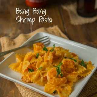 Bang Bang Shrimp Pasta - turn the famous bang bang shrimp appetizer into a main dish with this creamy pasta.