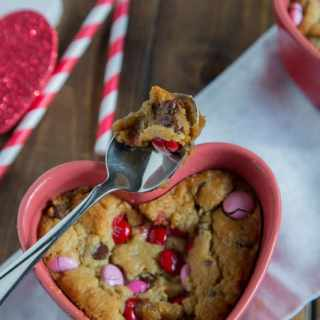 Valentine's Day is perfect for these Gooey Deep Dish Chocolate Chip Cookies