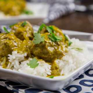 coconut curry meatballs on a plate