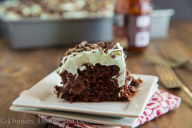 Chocolate Mint Poke Cake {Dinners, Dishes, and Desserts}