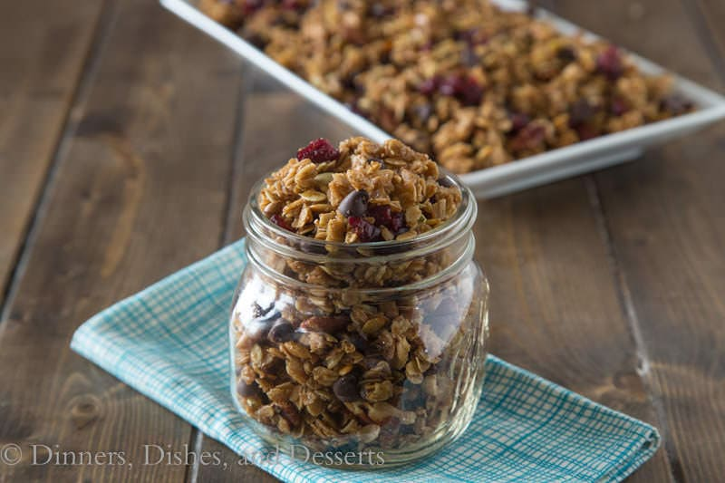 Homemade Granola with Pumpkin Seeds, Honey & Cranberries {Dinners, Dishes, and Desserts}