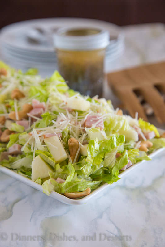 Pear, Cashew and Canadian Bacon Salad with Poppy Seed Dressing - a great lunch or dinner summer salad with sweet pears, crunchy cashews, salty Canadian bacon and sweet poppy seed dressing. No heating up the kitchen!