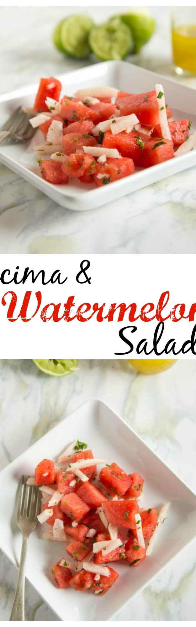Jicima and Watermelon Salad - use juicy watermelon and slightly sweet jicima to make a great summer side dish.  Toss with a honey-lime vinaigrette.