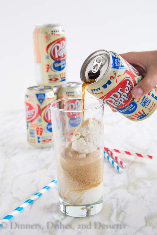 Dr. Pepper Vanilla Ice Cream Floats - an all time favorite summer treats gets a little makeover with Dr. Pepper Vanilla Float.