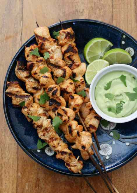 Chipotle Chicken Kebobs with Avocado Cream Sauce {Barefeet In The Kitchen}