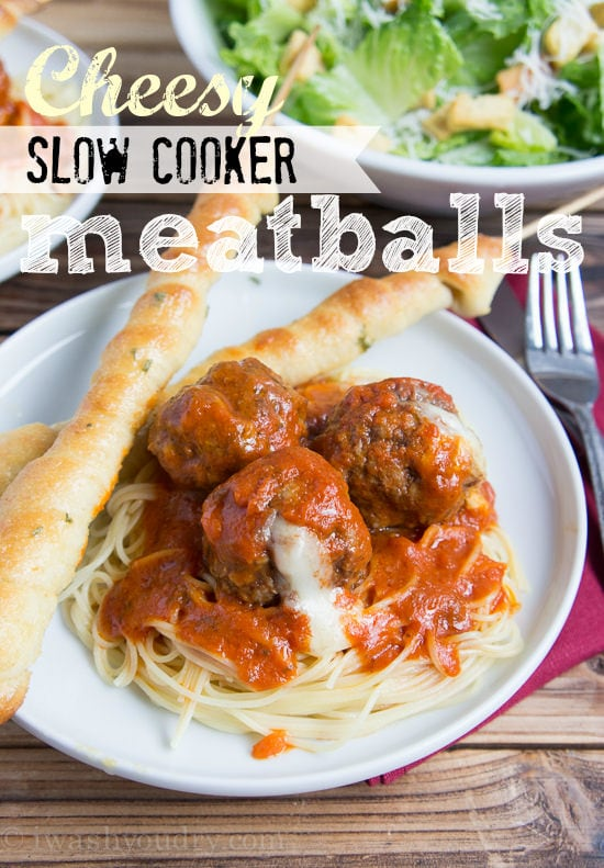 Cheesy Slow Cooker Meatballs {I Wash...You Dry}