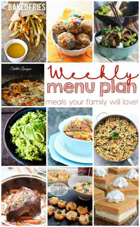 Weekly Meal Plan Week 12 - 10 great bloggers bringing you a full week of recipes including dinner, sides dishes, and desserts!