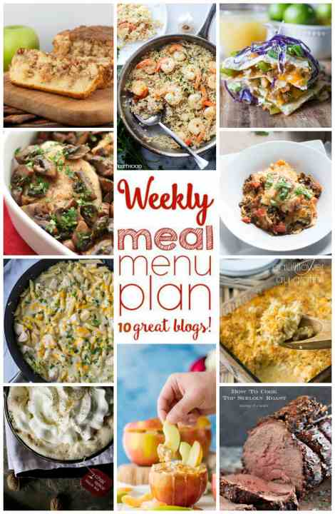 Weekly Meal Plan Week 14 - 10 great bloggers bringing you a full week of recipes including dinner, sides dishes, drinks and desserts!