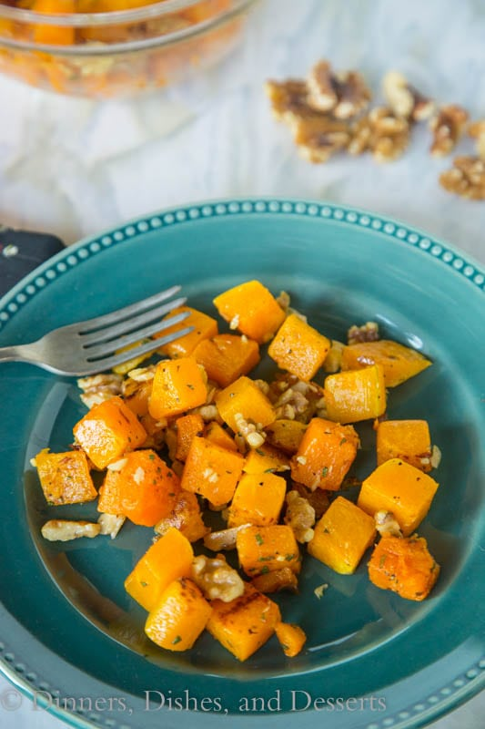 Roasted Butternut Squash with Sage and Walnuts - roasted butternut squash that is tossed with butter, sage and toasted walnuts. Great side dish for fall.