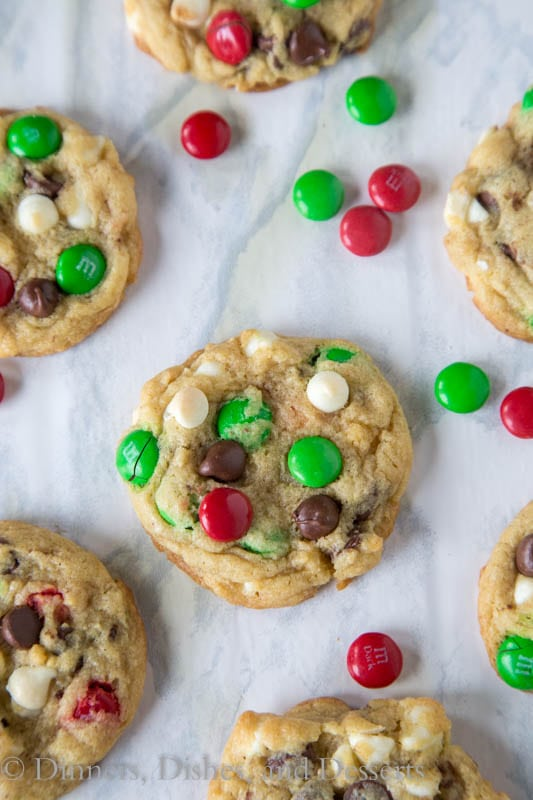 Double Chocolate M&M Cookies - super soft and chewy cookies filled with semi-sweet chocolate, white chocolate, and M&M's!