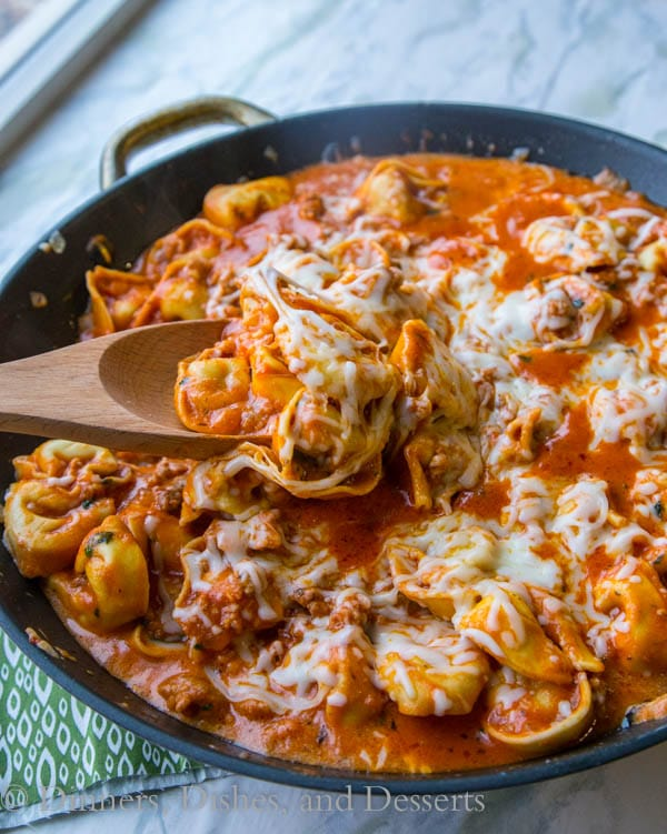 Sausage Tortellini Skillet - Your favorite tortellini comes together in a quick and easy one pan meal the whole family will love!