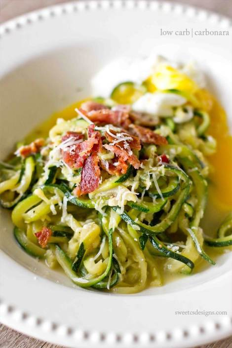 Low Carb Carbonara with Zoodles {Sweet C's Designs}