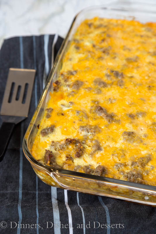 Make Ahead Potato and Sausage Egg Bake - a super easy make ahead egg bake made with hash browns, sausage, green peppers, and lots of cheese!  Perfect for brunch or when you have a house full of people!