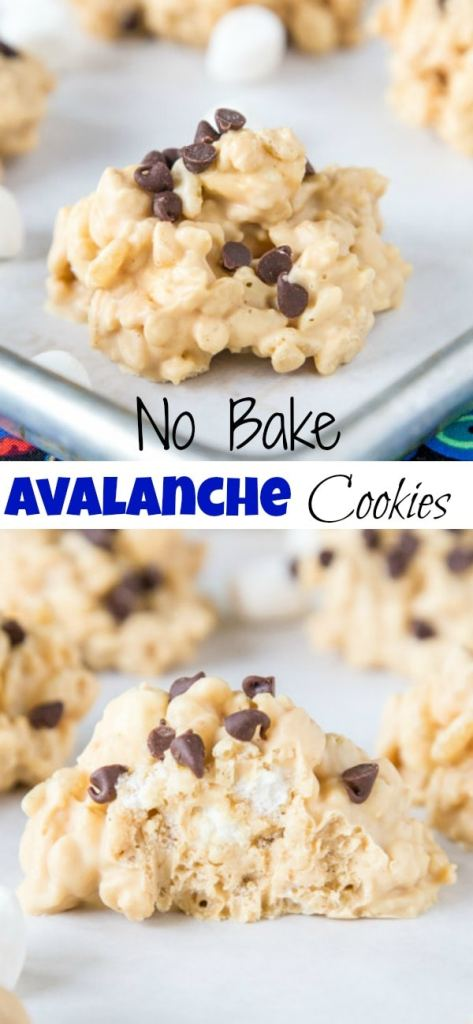 Easy No Bake Avalanche Cookies - just 4 ingredients and 5 minutes to make this cookie version of Rocky Mountain Chocolate Factory's Avalanche Bark!