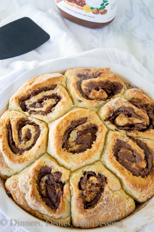 nutella cinnamon rolls in a pan