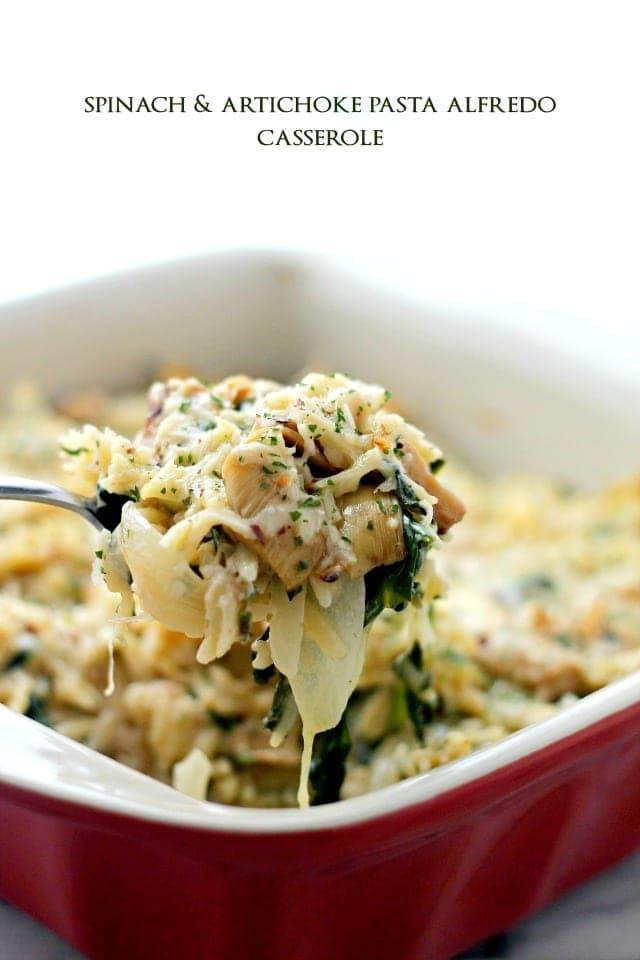 Spinach and Artichoke Pasta Alfredo Casserole {Diethood}