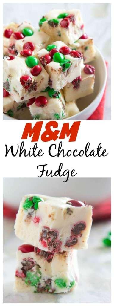 M&M White Chocolate Fudge - Easy sweet white chocolate fudge with lots of festive M&M's