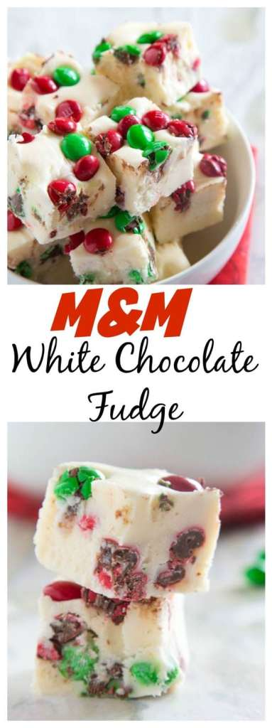 close up of white chocolate m&m fudge in a bowl