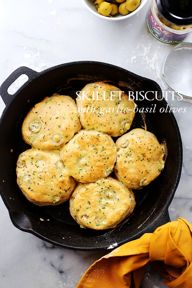 Skillet Biscuits with Garlic Basil Olives {Diethood}