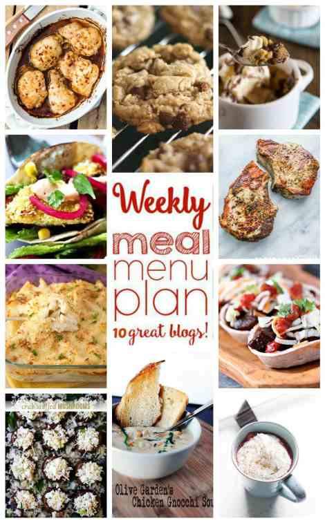 Weekly Meal Plan Week 30 - 10 great bloggers bringing you a full week of recipes including dinner, sides dishes, and desserts!