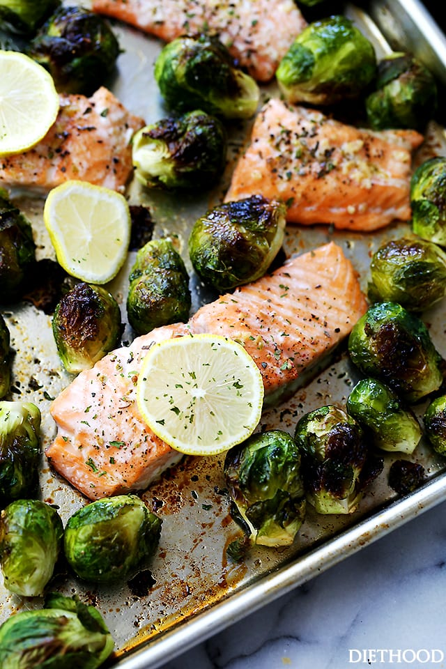 One Sheet Pan Garlic Roasted Salmon with Brussels Sprouts {Diethood}