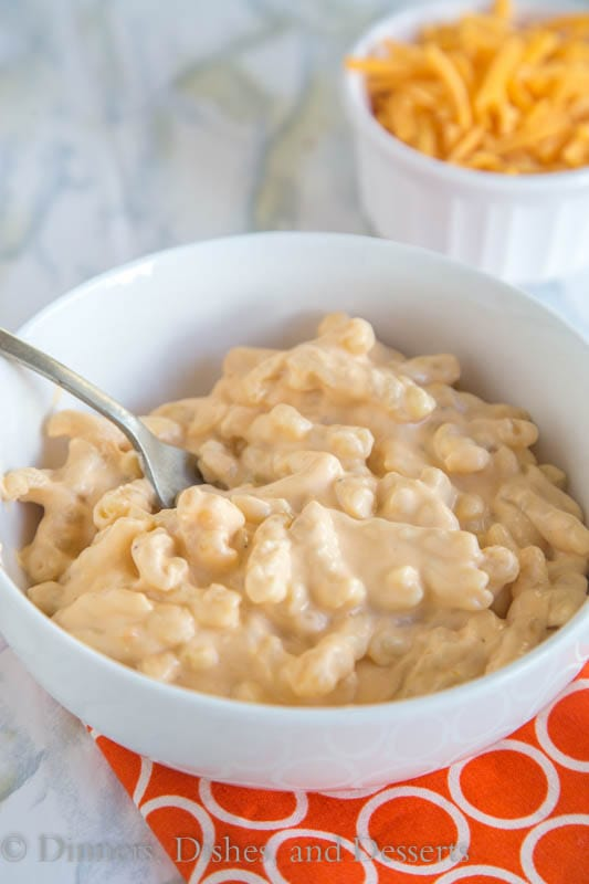 slow cooker mac and cheese in a bowl