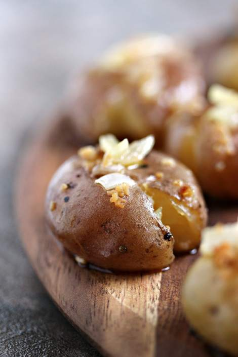 Smashed Potatoes with Onion and Garlic {Cravings of a Lunatic}