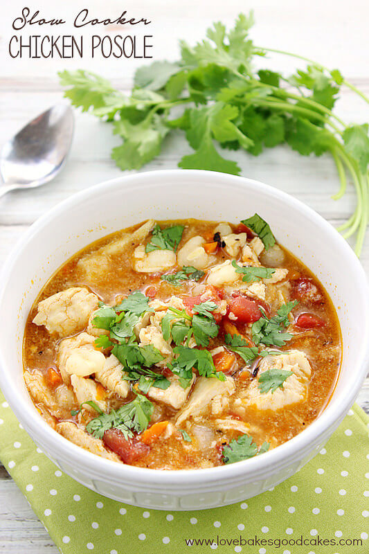 Slow Cooker Chicken Posole {Love Bakes Good Cakes}