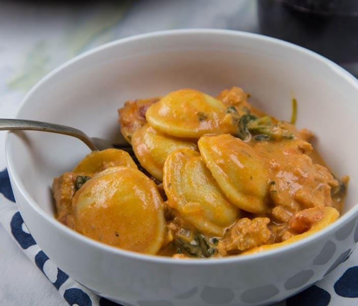 Creamy Sausage and Tomato Ravioli