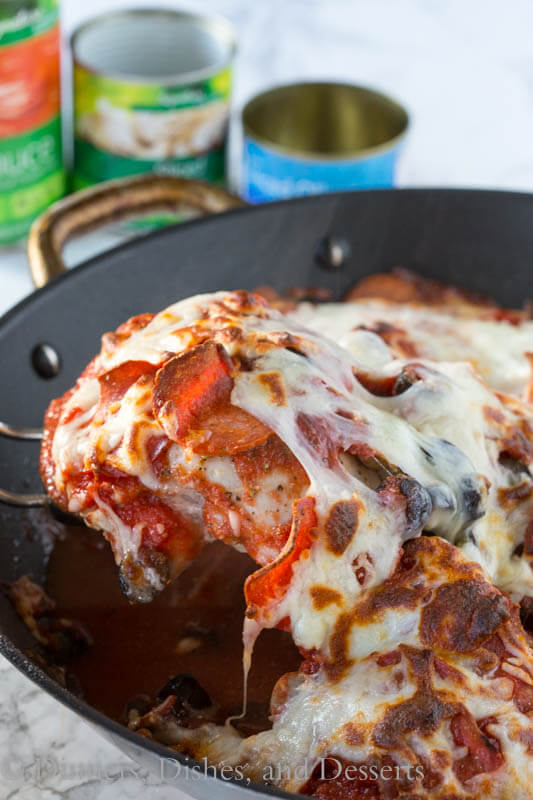 one pan pizza chicken in a pan