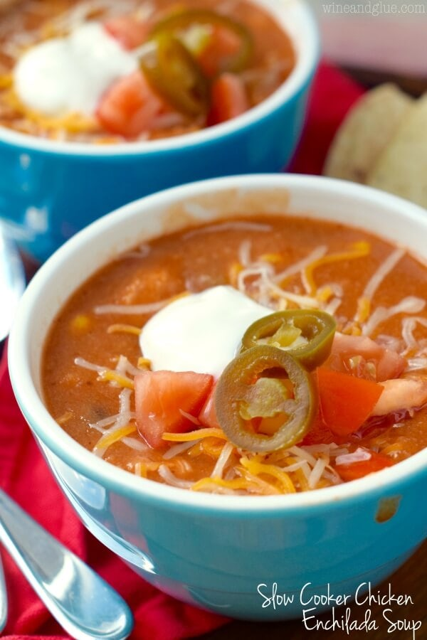 Slow Cooker Chicken Enchilada Soup {Wine and Glue}