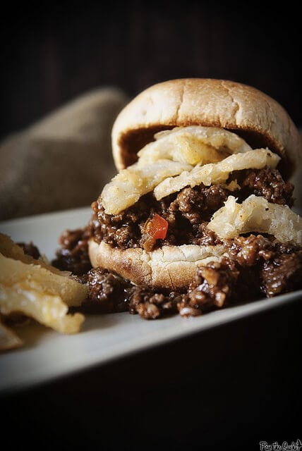 Sloppy Joes with Fried Onions {Girl Carnivore}