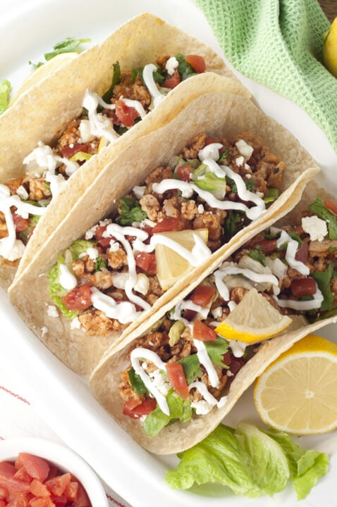 Greek Chicken Soft Tacos {Wishes and Dishes}
