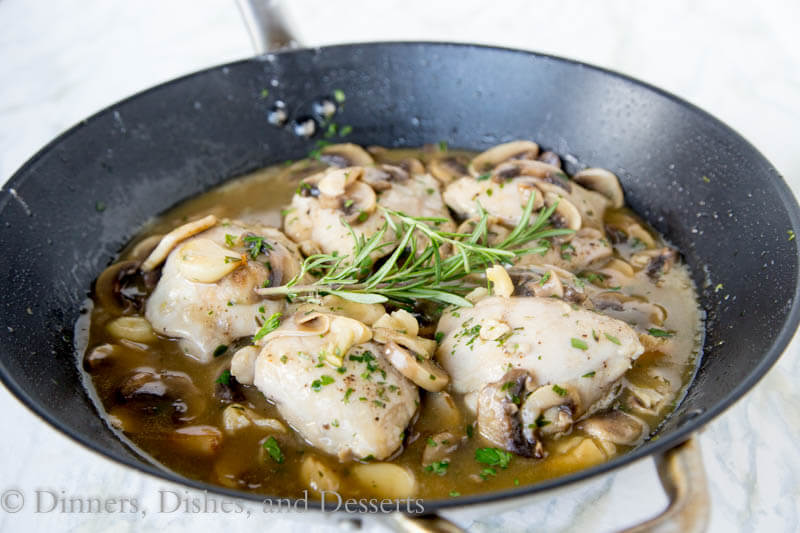 One Pan Garlic Chicken - chicken thighs and garlic come together for a super easy and delicious chicken dinner!
