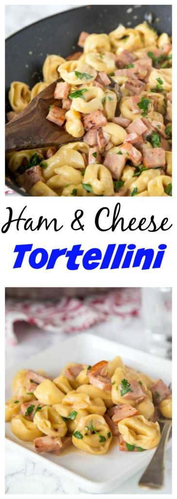 Ham & Cheese Tortellini - use that leftover ham to make this easy creamy tortellini dinner in 20 minutes!  Great one pan meal any night of the week!