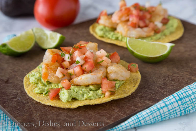 Shrimp & Avocado Tostadas - a fun and easy way to get Mexican food on weeknights, in minutes! Crispy tostadas topped with guacamole, spiced shrimp, and your favorite salsa.
