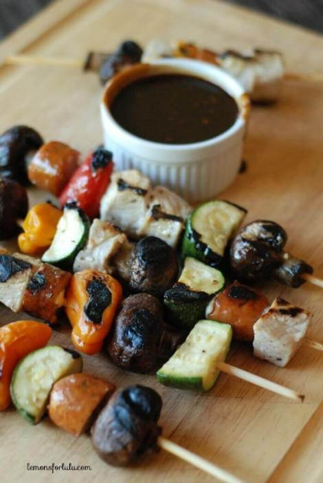 Pork Kebobs with Balsamic Barbecue Sauce {Lemons for Lulu}
