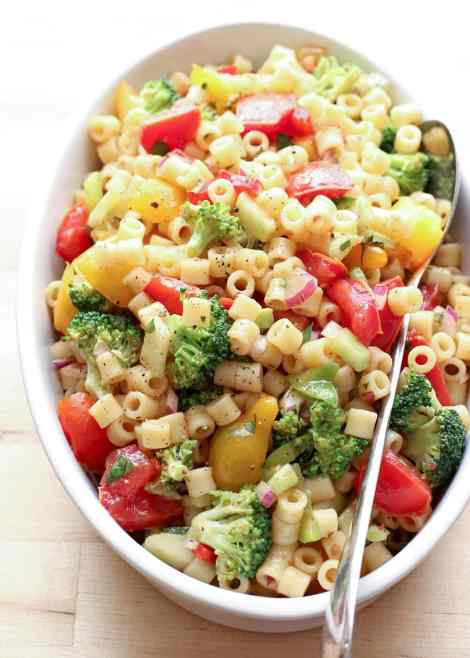 Marintaed Veggie Pasta Salad {Barefeet in the Kitchen}