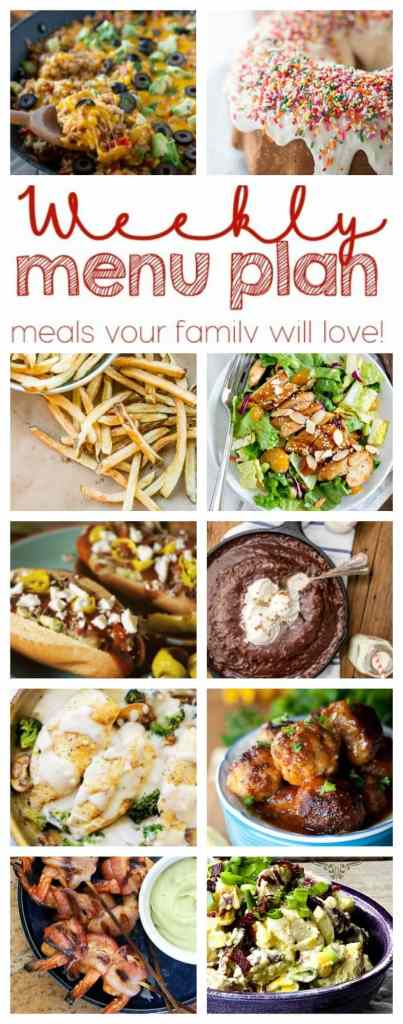 Weekly Meal Plan Week 42 - 10 great bloggers bringing you a full week of recipes including dinner, sides dishes, and desserts!